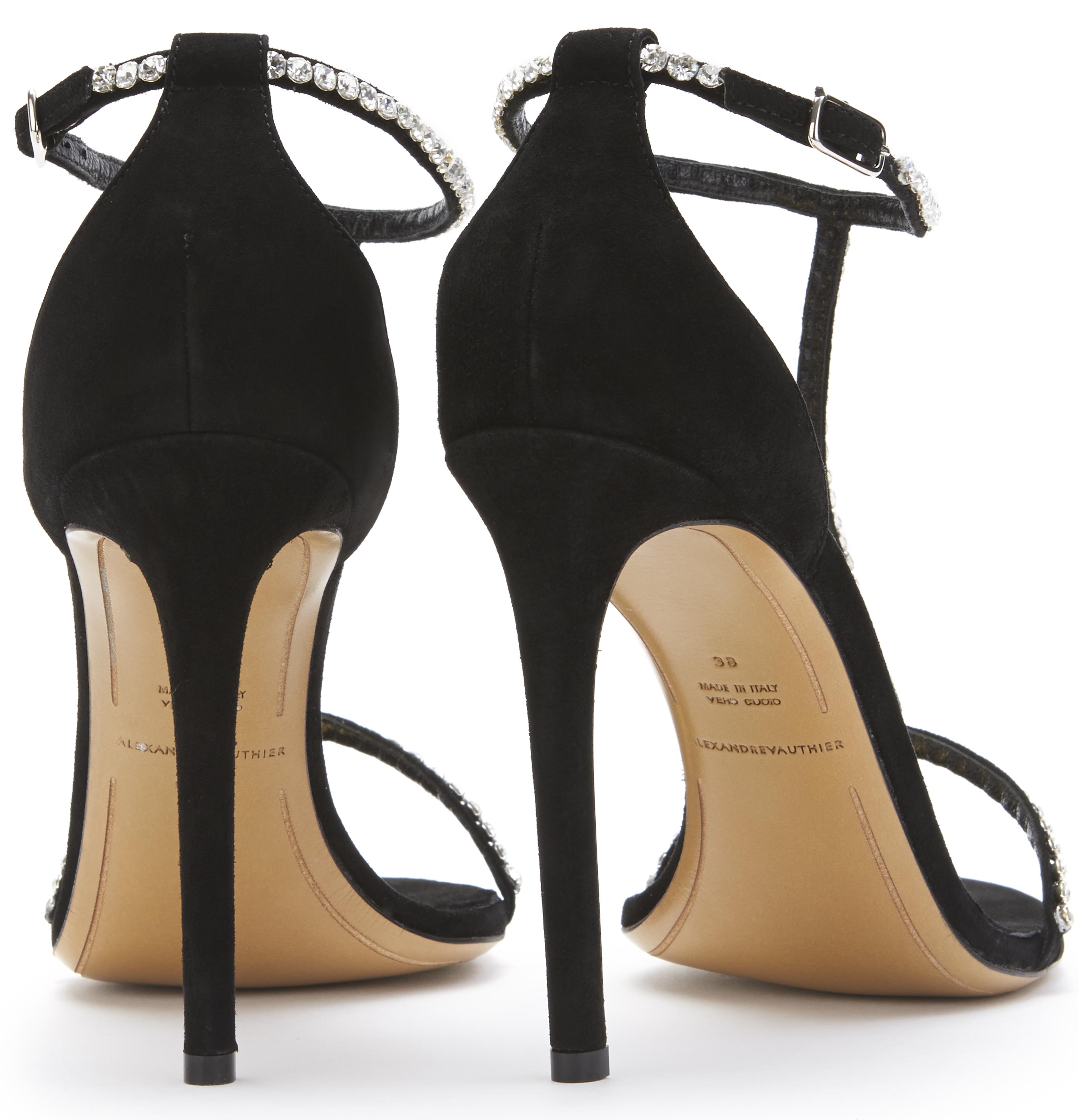 2a2b8e3b9560f ALEXANDRE VAUTHIER – Swarovski™ T-Bar stiletto sandal in black suede ...
