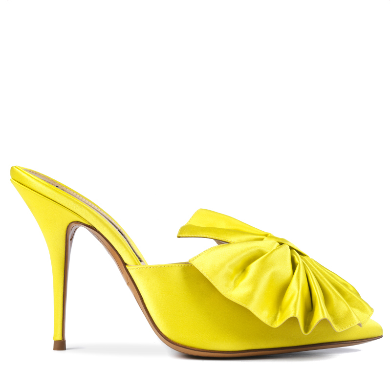 MYSHUBOX.COM Designer Shoes Alexandre Vauthier Kate Mules in Yellow Satin Spring Summer 2018 SS18