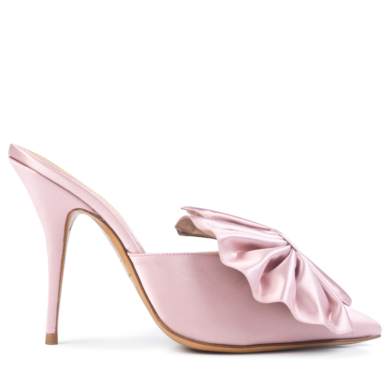 MYSHUBOX.COM Designer Shoes Bridal Shoes Alexandre Vauthier Kate Mules in Soft Pink Satin Spring Summer 2018 SS18