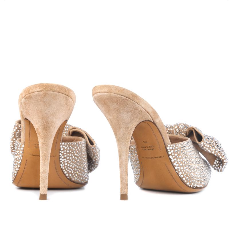 MYSHUBOX.COM Designer Shoes Alexandre Vauthier Kate Mules in Swarovski Nude Suede Spring Summer 2018 SS18