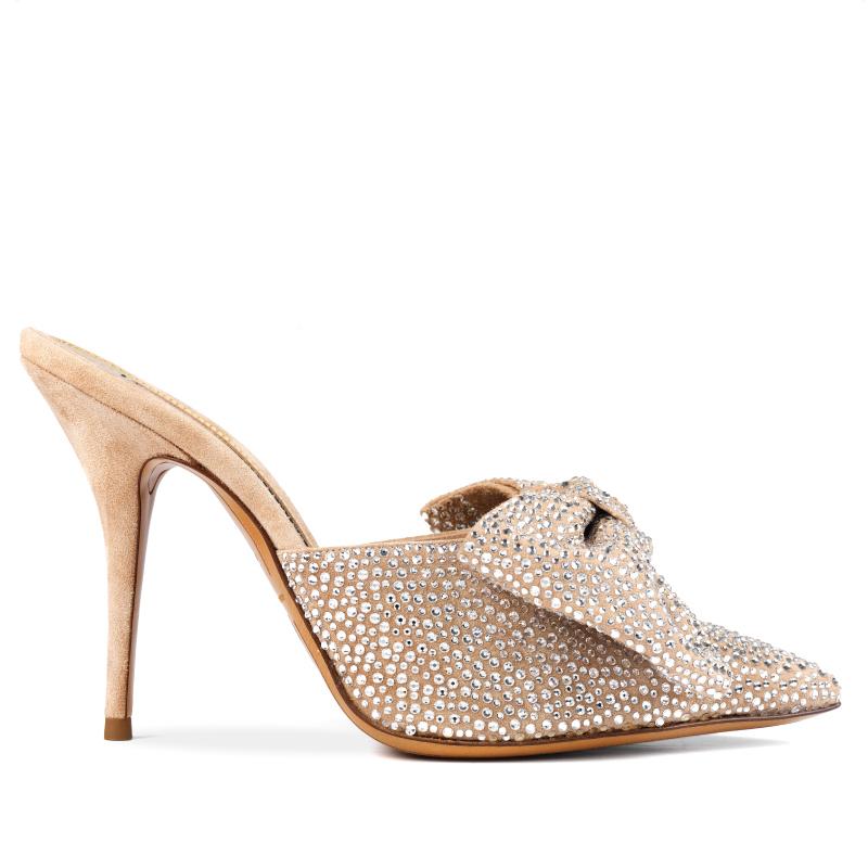 MYSHUBOX.COM Designer Shoes Alexandre Vauthier Kate Mules in Swarovski Suede Spring Summer 2018 SS18