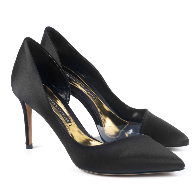 MYSHUBOX.COM Designer Shoes Heels Alexandre Vauthier Lottie d'orsay Pumps in Black Satin Spring Summer 2018 SS18