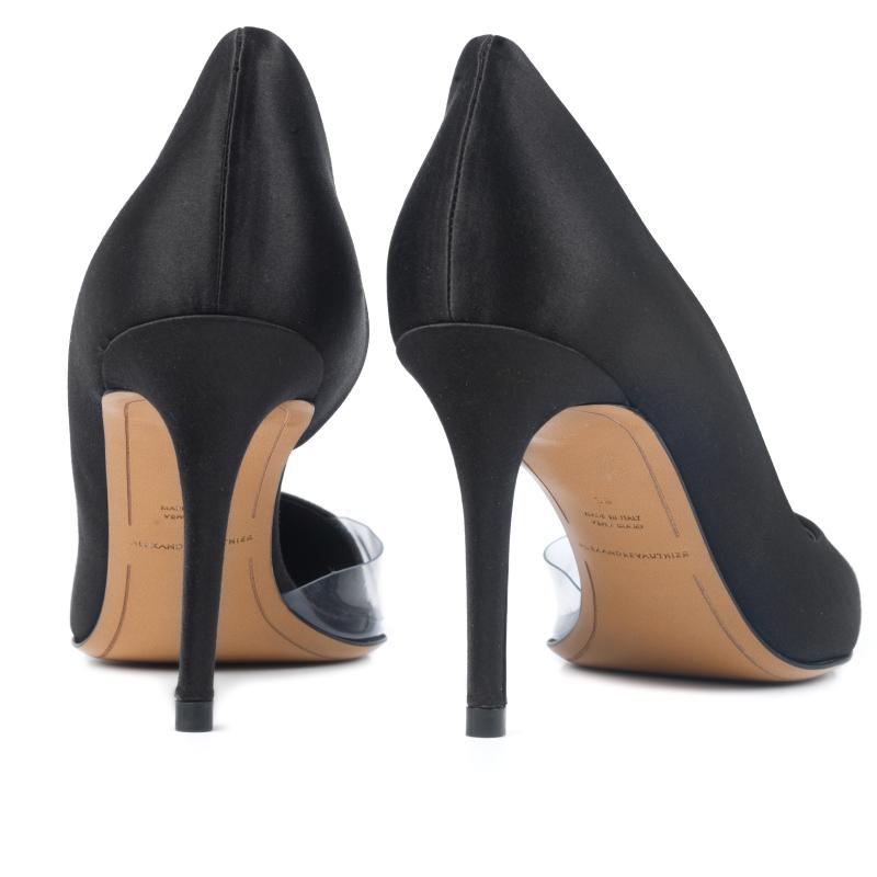 MYSHUBOX.COM Designer Shoes Heels Alexandre Vauthier Lottie d'orsay Pumps in Black Satin Spring Summer 2018 SS18
