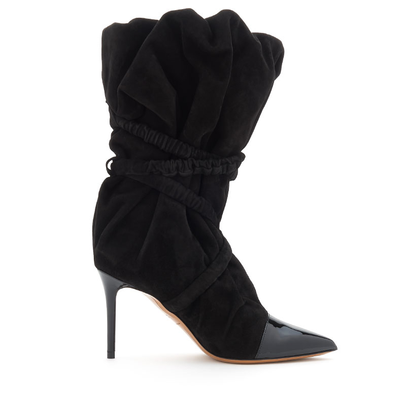 MYSHUBOX.COM---ALEXANDRE-VAUTHIER-DESIGNER-SHOES-DUNE-CALF-BOOTIE-IN-BLACK-SUEDE-AND-PATENT-WITH-9CM-HEEL-